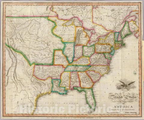 Historic Map : Guide Book, United States of America. 1822 - Vintage Wall Art