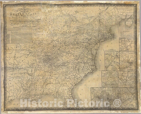 Historic Map : Mitchell's map of the United States, 1835 - Vintage Wall Art