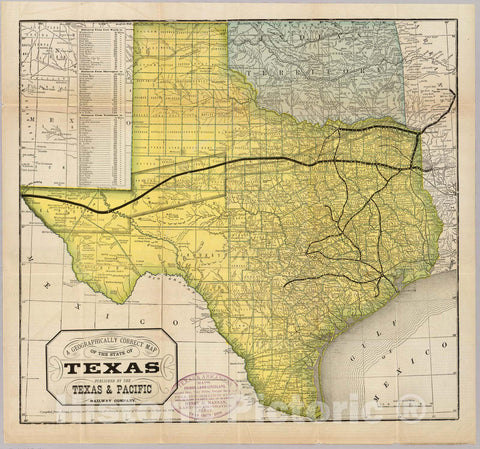 Historic Map : Timetable Map, State of Texas. 1878 - Vintage Wall Art