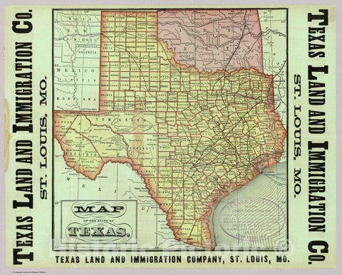 Historic Map : Pocket Map, State of Texas. 1876 - Vintage Wall Art