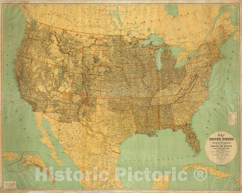 Historic Map : Wall Map, United States and territories. 1890 - Vintage Wall Art