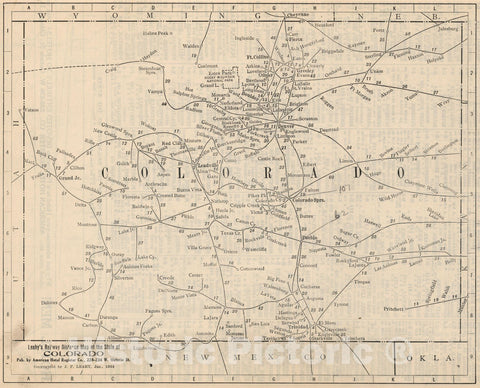 Historic Map : Railway Distance Map of the State of Colorado, 1934 - Vintage Wall Art