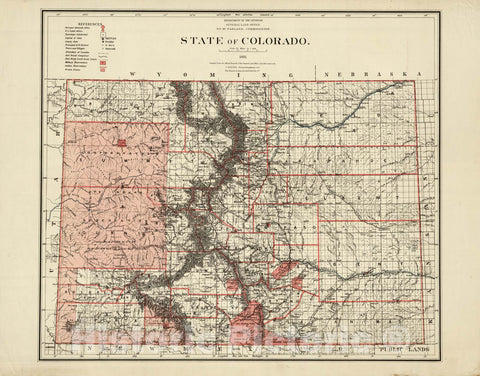 Historic Map : Department of The Interior General Land office Map - State of Colorado. 1881 1881 - Vintage Wall Art