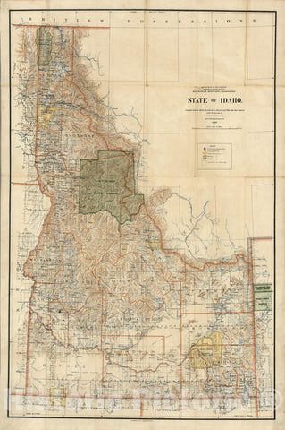Historic Map : Map of State of Idaho, 1899 - Vintage Wall Art