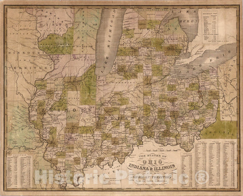 Historic Map : Pocket Map, States of Ohio Indiana and Illinois And Michigan Territory 1835 - Vintage Wall Art