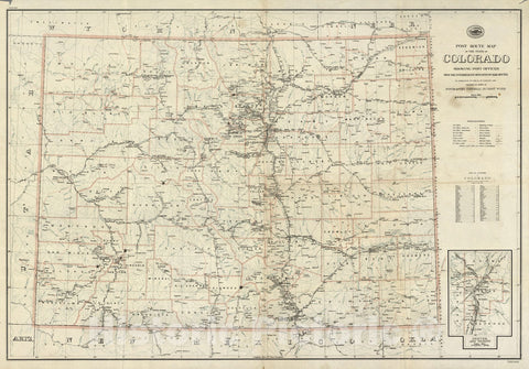 Historic Map : Post route map of the state of Colorado, 1923 - Vintage Wall Art