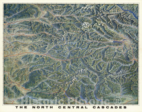 Historic Map - North Central Cascades. A Pictorial Relief Map, 1964, - Vintage Wall Art