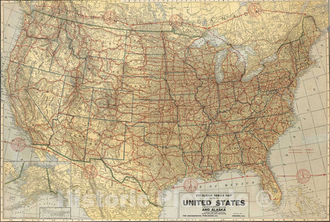Historic Map : Wall Map, United States and Alaska. 1926 - Vintage Wall Art