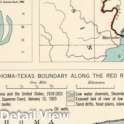 Historic Map : Historical Atlas Map, Plate 101. State Boundary Disputes. Michigan - Wisconsin. Oklahoma - Texas. 1932 - Vintage Wall Art
