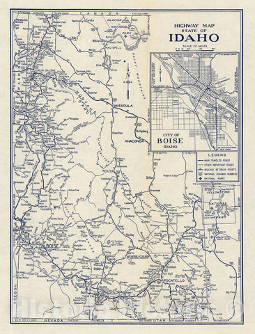 Historic Map : Highway Map State of Idaho, 1938 - Vintage Wall Art