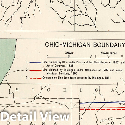Historic Map : Historical Atlas Map, Plate 98. Colonial and State Boundary Disputes. Maryland. Ohio - Michigan. Missouri - Iowa. 1932 - Vintage Wall Art