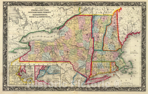 Historic Map - County Map of the States of New York, New Hampshire, Vermont, Massachusetts, Rhode Id. And Connecticutt, 1865, Samuel Augustus Mitchell Jr. v3