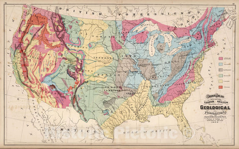 Historic Map : World Atlas Map, United States Showing the Principal Geological Formations. 1873 - Vintage Wall Art