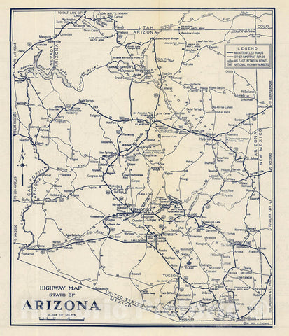 Historic Map : Highway Map State of Arizona, 1938 - Vintage Wall Art