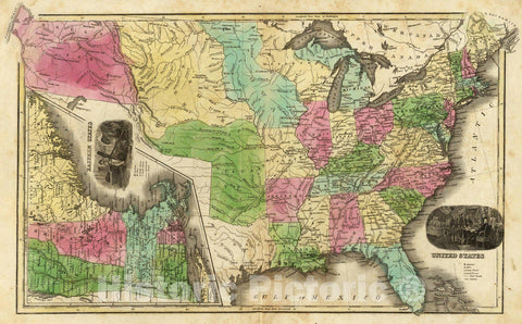 Historic Map : School Atlas Map, United States. (with) Eastern States. 1842 - Vintage Wall Art