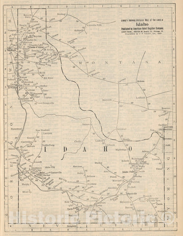 Historic Map : Railway Distance Map of the State of Idaho, 1934 - Vintage Wall Art