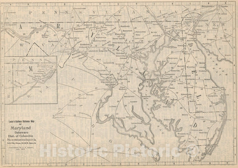 Historic Map : Railway Distance Map of the State of Maryland. Delaware. Dist. of Columbia, 1934 - Vintage Wall Art
