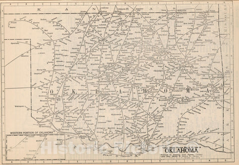 Historic Map : Railway Distance Map of the State of Oklahoma, 1934 - Vintage Wall Art