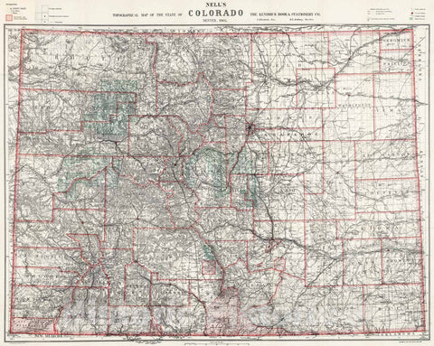 Historic Map - Topographical Map of The State of Colorado, 1905 - Vintage Wall Art