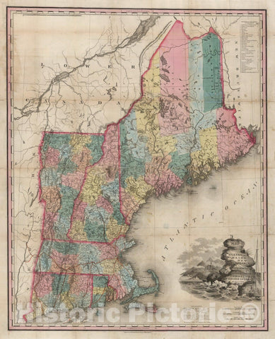 Historic Map - Map of the States of Maine, New Hampshire, Vermont, Massachusetts, Connecticut and Rhode Island, 1841, Henry Schenk Tanner - Vintage Wall Art