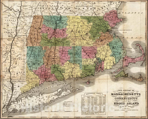 Historic Map : Pocket Map, The States of Massachusetts, Connecticut And Rhode Island 1832 - Vintage Wall Art