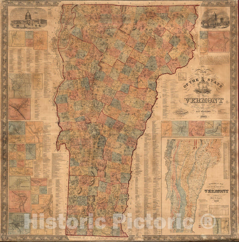 Historic Map : Wall Map, State of Vermont 1860 - Vintage Wall Art