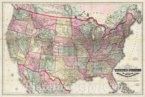 Historic Map : Pocket Map, Composite: United States, British Provinces, Mexico and the West Indies 1885 - Vintage Wall Art