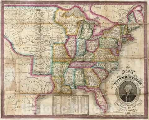 Historic Map : Map of the United States, 1836 - Vintage Wall Art