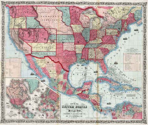 Historic Map : Map of the United States and Mexico, 1860 - Vintage Wall Art