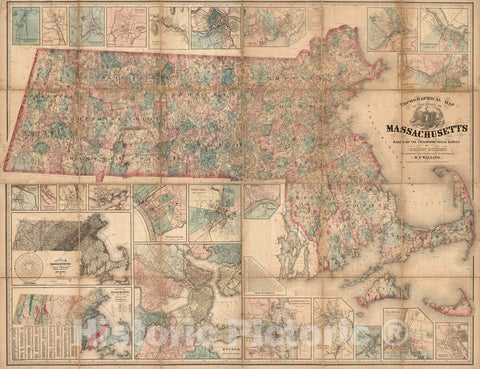 Historic Map : Map of The State of Massachusetts, 1861 - Vintage Wall Art