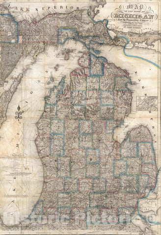 Historic Map - Map of The State of Michigan, 1853 - Vintage Wall Art
