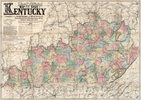 Historic Map : Lloyd's official Map of The State of Kentucky, 1863 v1
