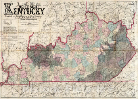 Historic Map : Lloyd's official Map of The State of Kentucky, 1863 v2