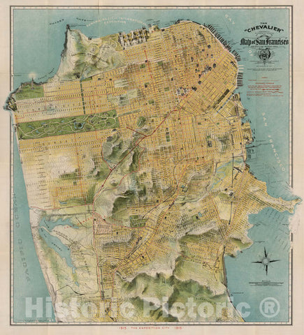 "The""Chevalier"" Commercial, Pictorial and Tourist Map of San Francisco, 1915 - Vintage Wall Art"