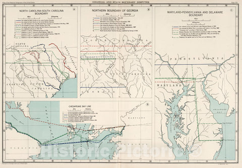 Historic Map : Plate 100. Colonial and State Boundary Disputes. North Carolina - South Carolina, Georgia. Maryland - Pennsylvania, Delaware, 1932 Atlas - Vintage Wall Art