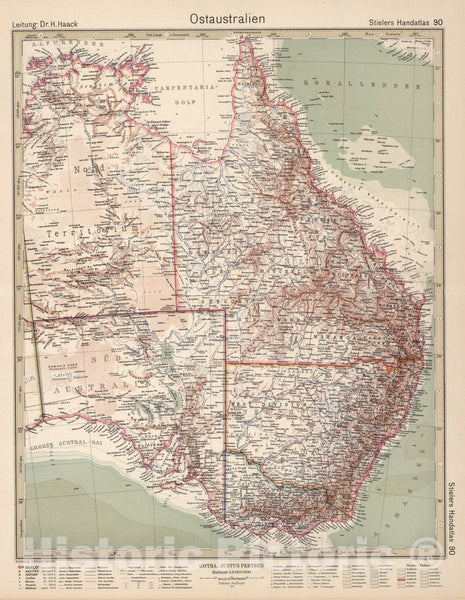 Historic Map : 90. Ostaustralien. Eastern Australia, 1925 Atlas - Vintage Wall Art