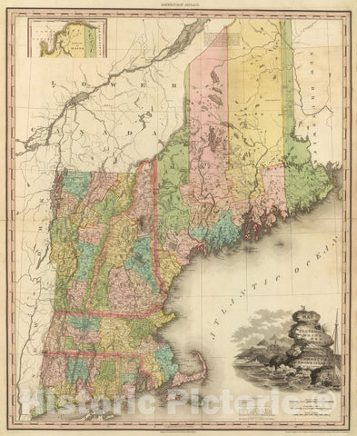 Historic Map : 1833 States of Maine, New Hampshire, Vermont, Massachusetts, Connecticut, Rhode Island. - Vintage Wall Art