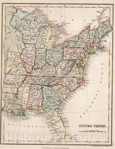 Historic Map : 1832 United States. - Vintage Wall Art