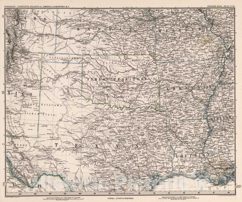 Historic Map : United States, South Central States 1881 Vereinigte Staaten von Amerika in 6 Blattern, Blatt 5. (United Sates, Sheet 5). , Vintage Wall Art