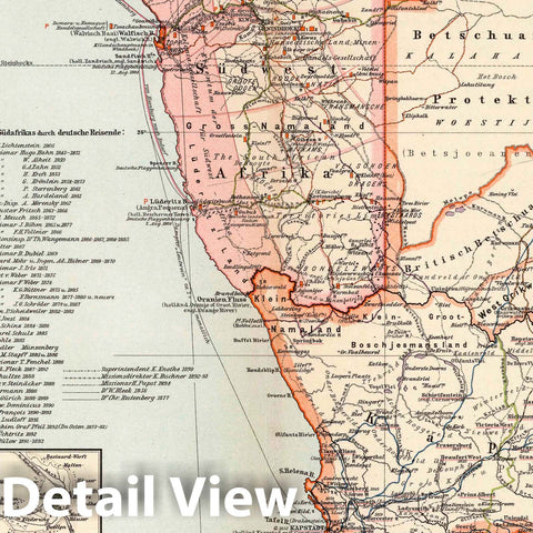 Historic Map : South Afrrica, 1896 Nr. 18. Suedwestafrikanisches Schutzgebiet. (Southwest Africa Reserve in 4 Sheets, Sheet 4). , Vintage Wall Art