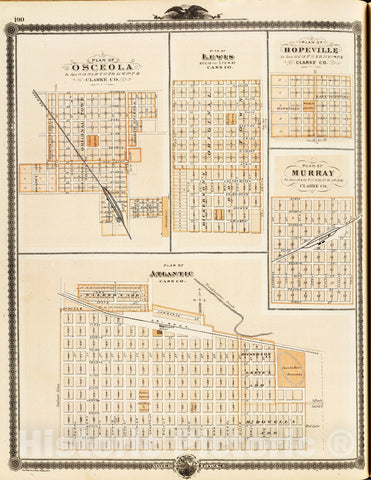 Historic Map : 1875 Plans of Atlantic, Osceola, Lewis, Hopeville and Murray, State of Iowa. - Vintage Wall Art