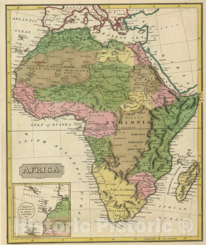 Historic Map : 1816 Africa. - Vintage Wall Art
