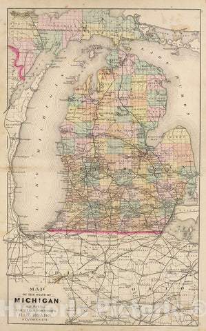 Historic Map : 1873 Map of the State of Michigan showing counties, townships, rail roads, - Vintage Wall Art