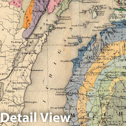 Historic Map : 1873 Map of the State of Michigan colored to show the geological formations. - Vintage Wall Art