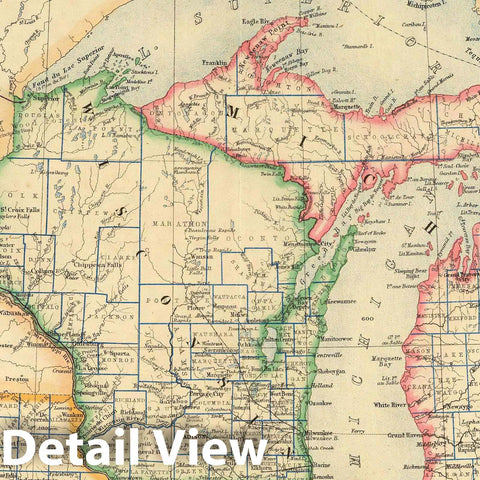 Historic Map : National Atlas - 1857 States of Michigan, Wisconsin and Iowa. - Vintage Wall Art