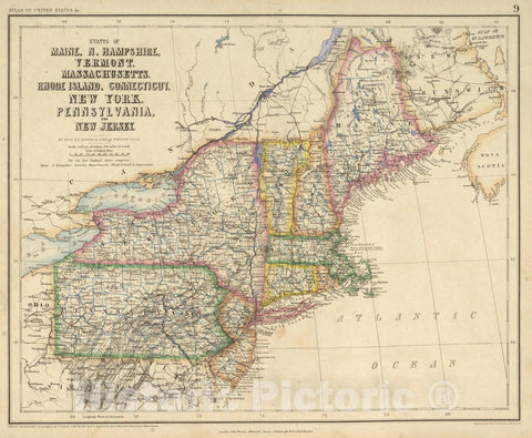 Historic Map : 1857 States Of Maine, New Hampshire, Vermont, Massachusetts, Rhode Island, Connecticut, New York, Pennsylvania, And New Jersey. - Vintage Wall Art