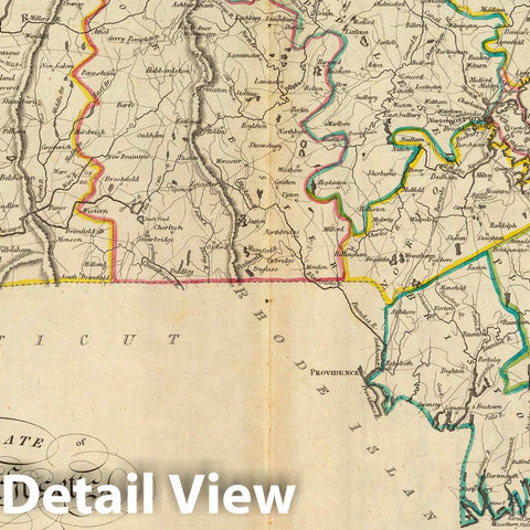 Historic Map : 1814 The State of Massachusetts : Vintage Wall Art