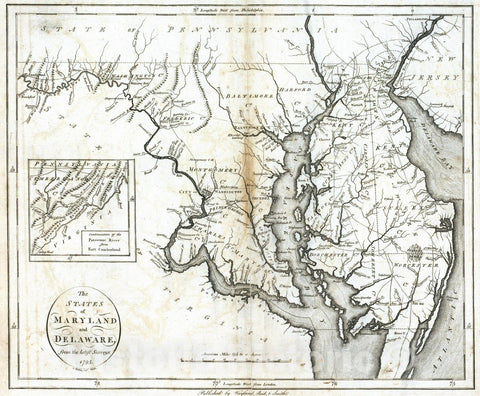 Historic Map : National Atlas - 1796 States of Maryland and Delaware. - Vintage Wall Art