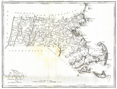 Historic Map : National Atlas - 1795 State of Massachusetts. - Vintage Wall Art