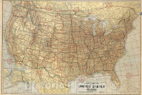 Historic Map : Wall Map - 1926 United States and Alaska. - Vintage Wall Art